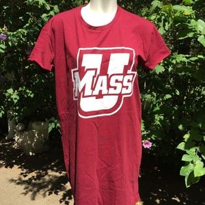 NWT - Pink by VS - Red & White Vneck U. Mass. Tee
